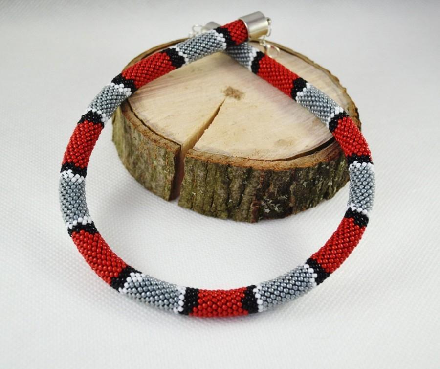 Hochzeit - Snake necklace seed beads gray red black white pattern snake crochet tube necklace skin snake animal handmade beaded necklace women gift