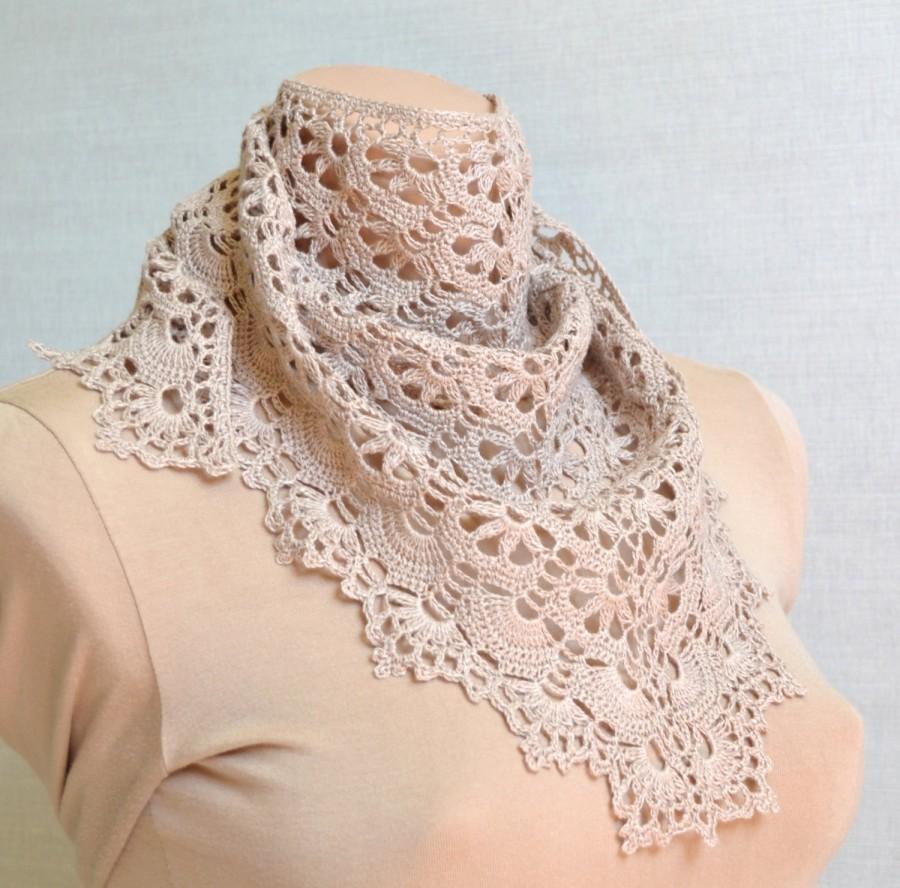 Beige Crochet Bandana Headband Beige Lace Bandana Around Neck For