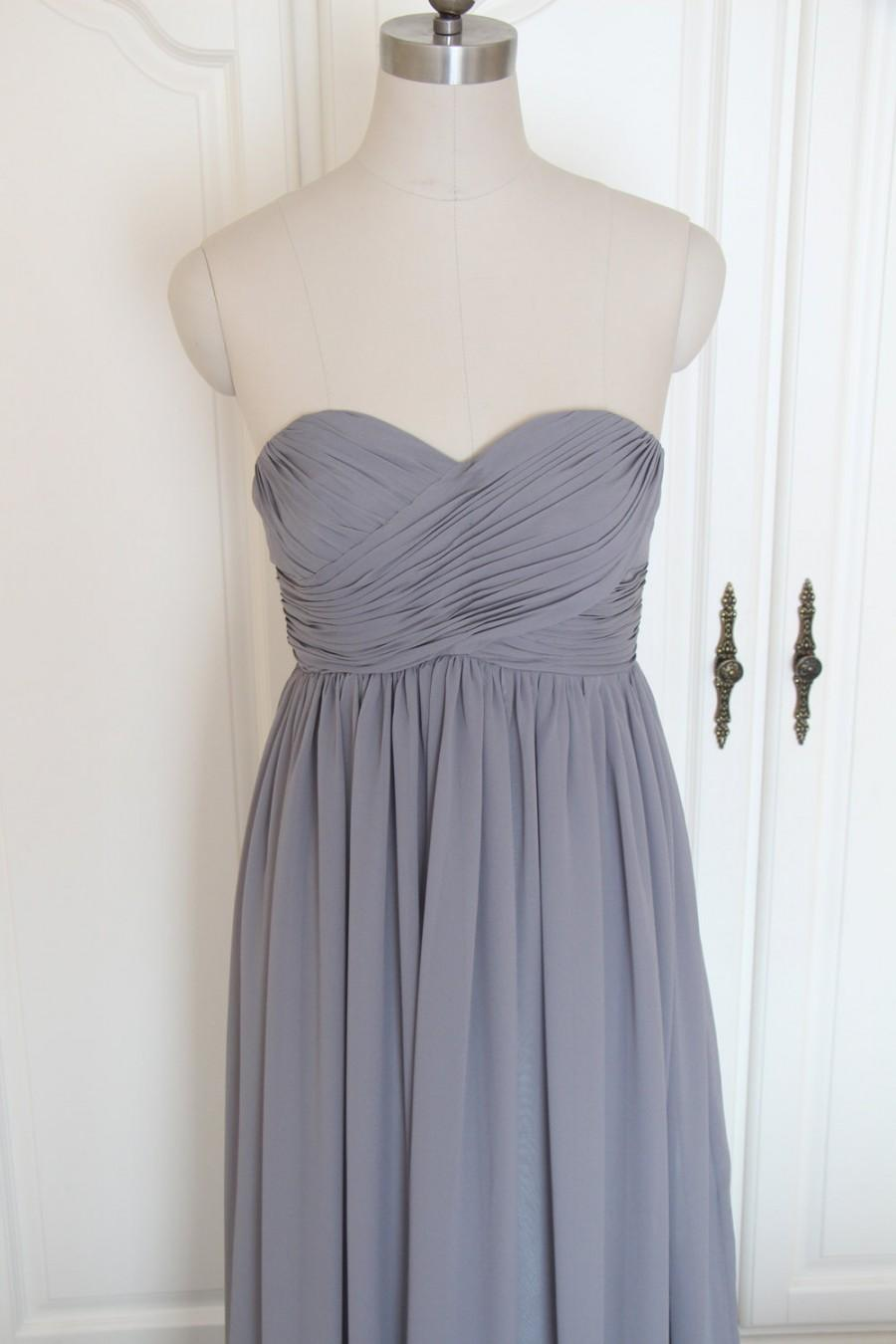Mariage - Gray Sweetheart Bridesmaid Dress Long Grey Strapless Chiffon Bridesmaid Dress-Custom Dress