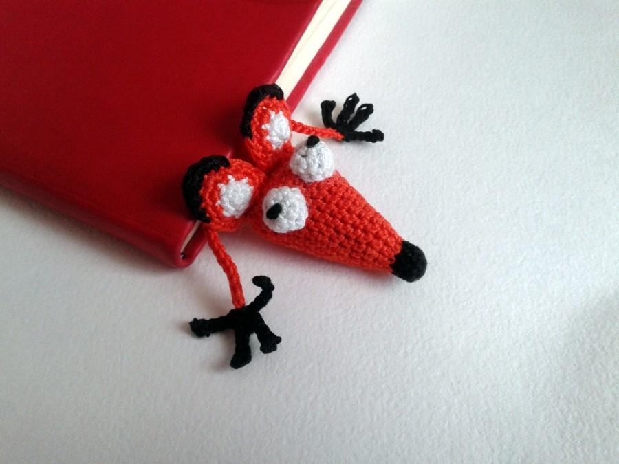 Wedding - Bookmark Fox Hand Knitted 100% Handmade Fox Made with love