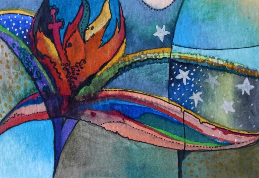 Mariage - No name 2-Aceo  ORIGINAL Watercolor Painting,One of a kind,Abstract ,colorful,vivid Painting,Aceo,Ooak,Pen and Ink,Aquarelle,one of a kind