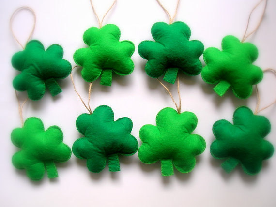 Mariage - Felt St. Patrick's Day Decoration, Green Felt Shamrock Ornaments, Felt St. Patrick's Day Decoration, St. Patrick's Day Shamrock 8 pieces
