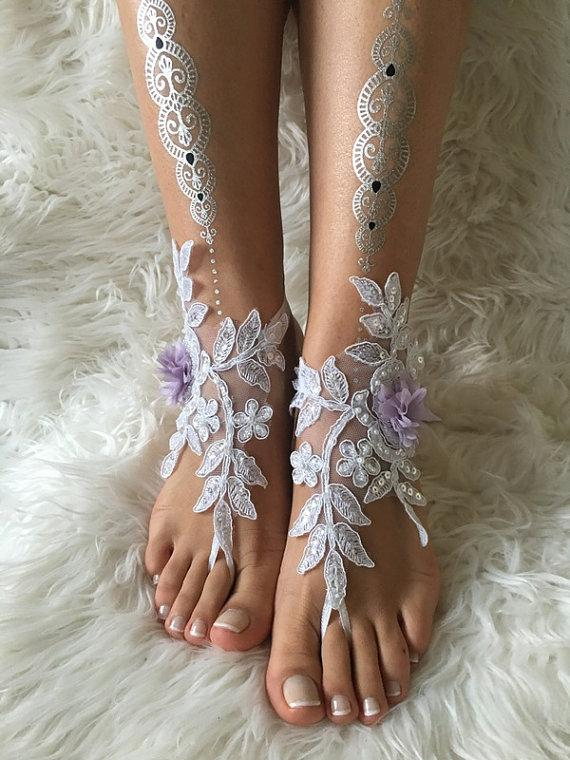 Wedding - White lilac flowers lace barefoot sandals, FREE SHIP, beach wedding barefoot sandals, lace shoes, wedding shoe, bridesmaid gift, beach