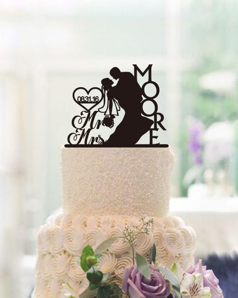 Hochzeit - Custom Silhouette Cake Topper,Wedding Cake Topper,Mr and Mrs Cake Topper,Personalized Mr & Mrs Last Name Cake Topper,Bride and Groom Topper