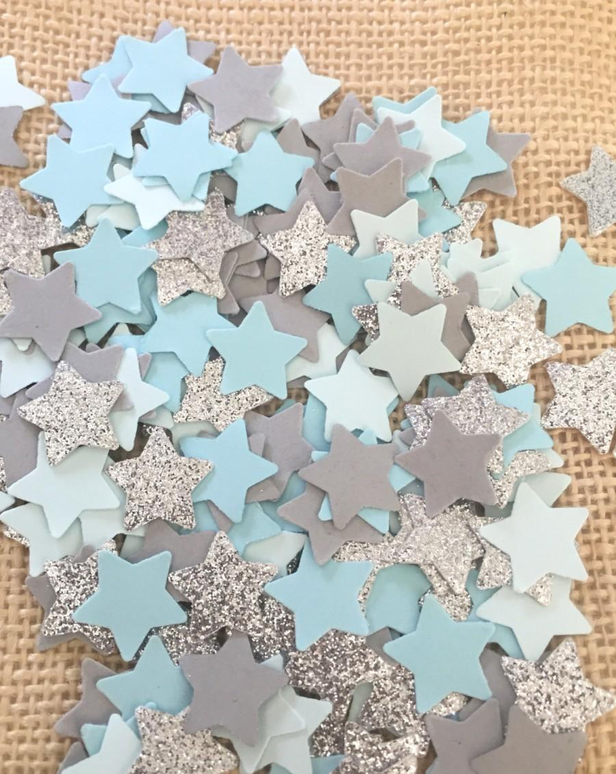 Mariage - Twinkle Twinkle Little Star Blue, Gray, Silver Glitter Confetti, First Birthday, Baby Shower,Party Decorations,Baby Boy Shower,Table Scatter