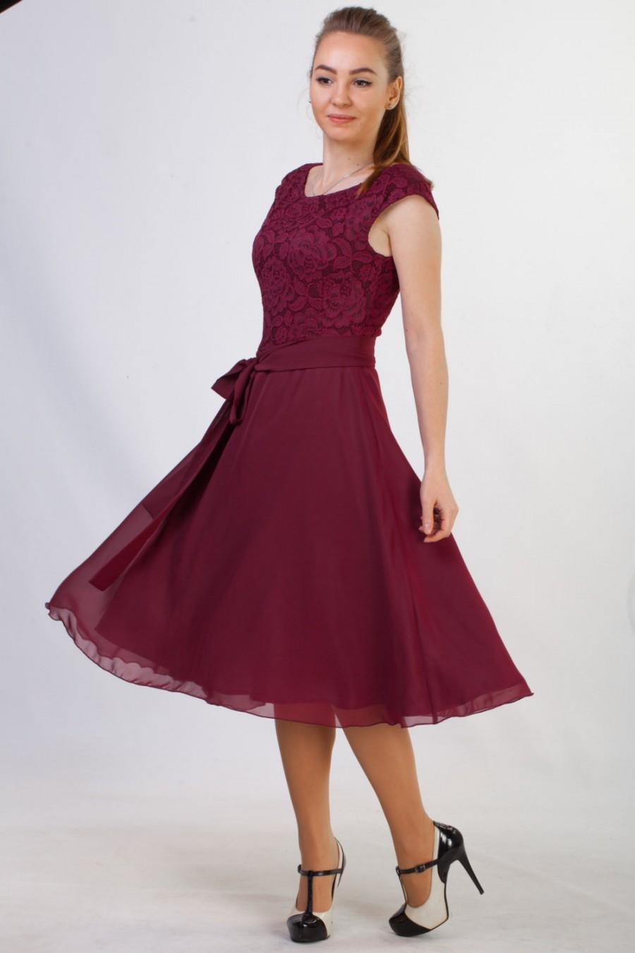 Short Burgundy Lace Dress Bridesmaid 15 Colors