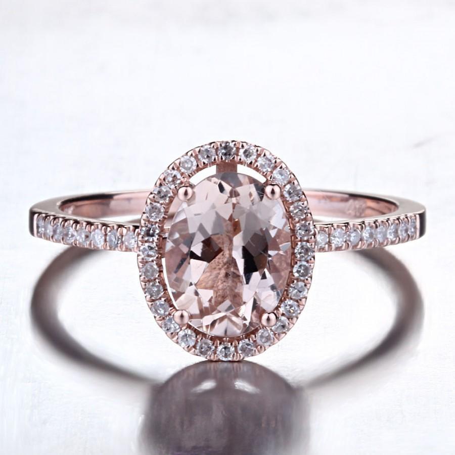 زفاف - Hot Sale 1.20 Carat Oval Morganite Ring, Diamond Halo Rose Gold Morganite Engagement Ring, Rose Gold Morganite Ring, Diamond Halo Morganite
