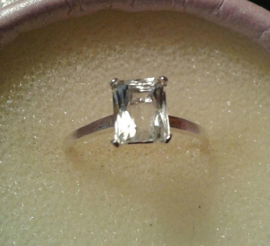 Hochzeit - Natural White Kunzite(Triphane) Sterling Silver Engagement Ring