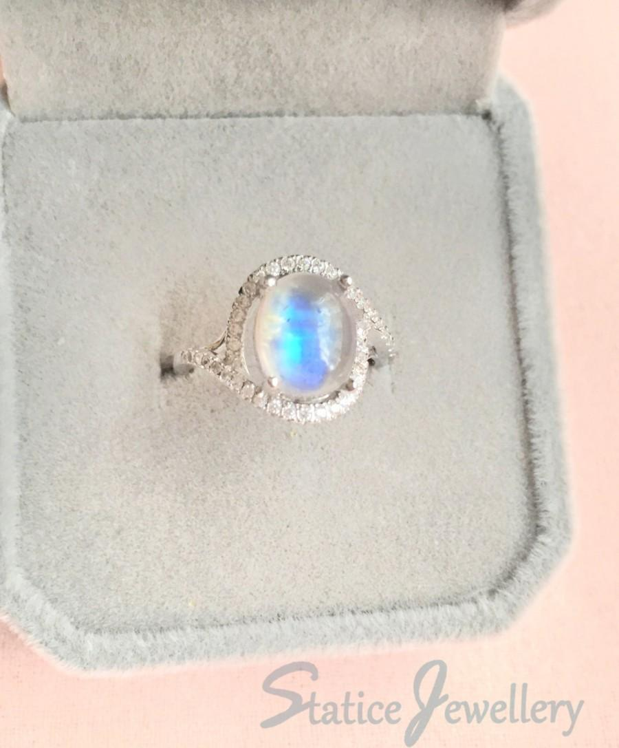 Wedding - Blue Moonstone Ring Sterling Silver, Genuine Natural Rainbow Moonstone Birthstone Cubic Zirconia Wedding Engagement Anniversary Gift For Her