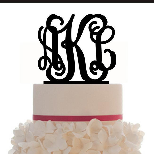 Свадьба - Custom Wedding Monogram Personalized Cake Topper with your choice of color and a FREE base for display