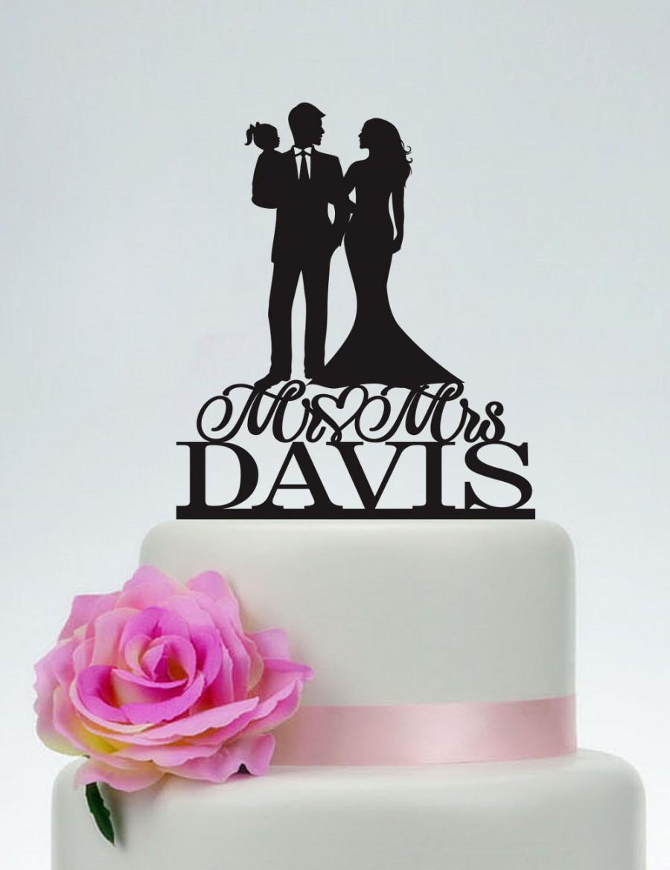 Family Cake Topper,Wedding Topper,Bride And Groom Holding Baby Cake ...