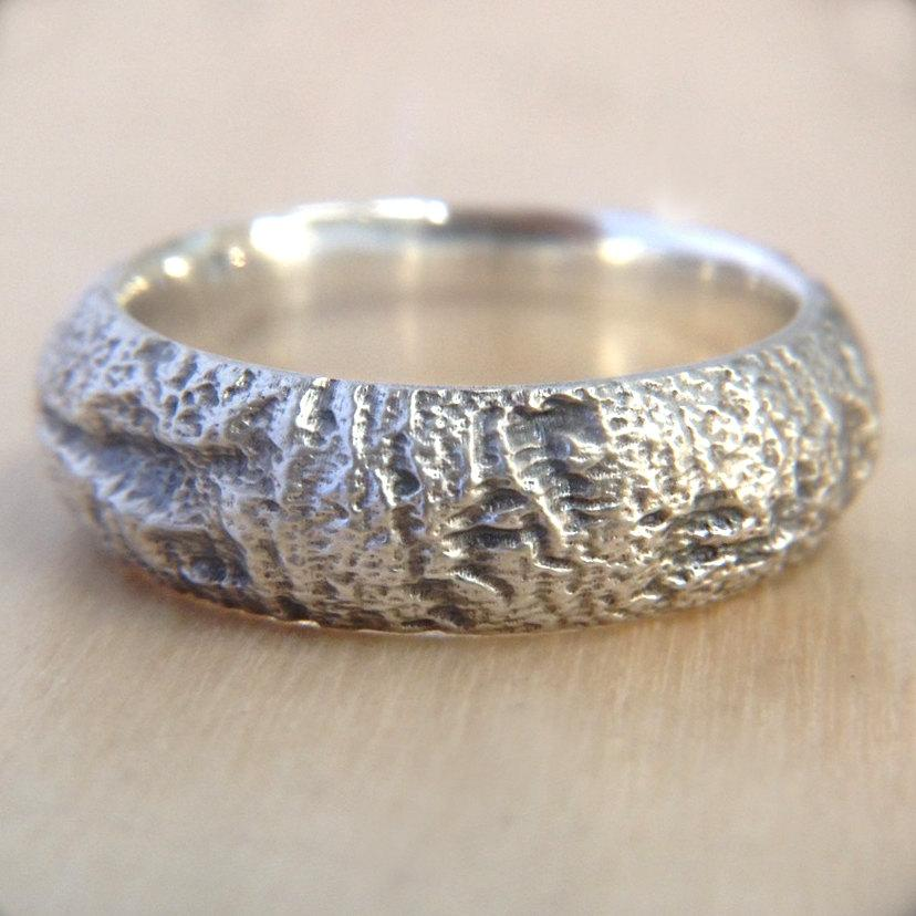 Wedding - Redwood Tree Bark Wedding Ring in Recycled Silver, Mens Wedding Band Wood, 7mm wide Wedding Band, Size 9 Ring, Size 10 Ring, or Custom Size