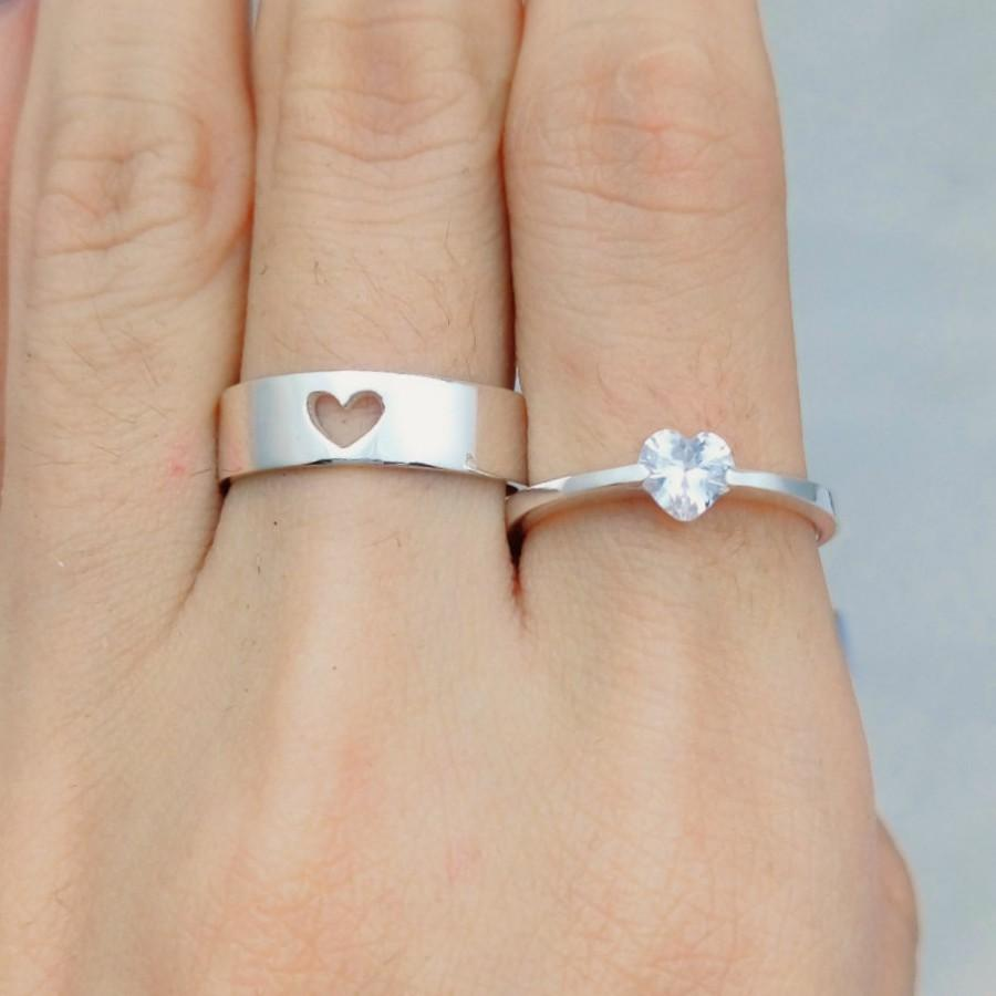 Heart Couples Ring, Couple Ring Set, His And Her Promise Rings ...