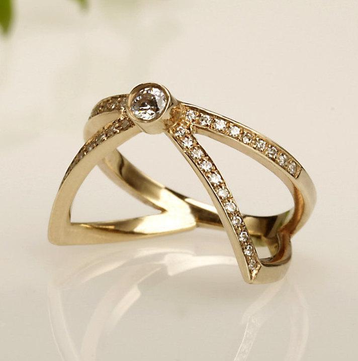 Mariage - Engagement Ring, Diamonds 14K Gold Ring, Unique engagement ring, promise Wedding Ring, Anniversary ring, Diamond Engagement Ring, RG-1048.
