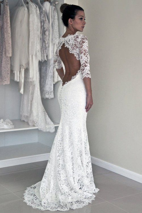 Long Sleeve Lace Open Back Mermaid Wedding Dresses, 2017 Long Custom ...
