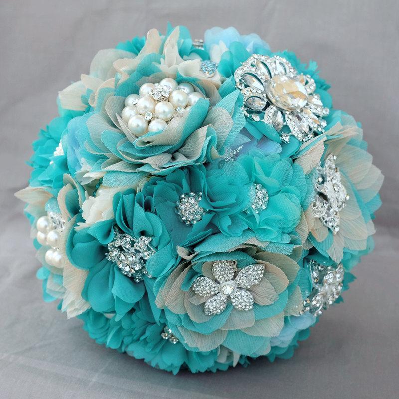 Свадьба - Vintage Bridal Brooch Bouquet - Pearl Rhinestone Crystal - Silver Teal Blue Aqua Blue Ivory - Starfish - BB053LX