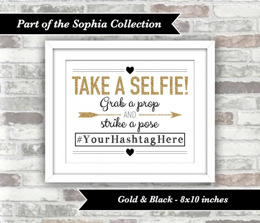 Mariage - PRINTABLE Digital File - Sophia Collection - Wedding Take a Selfie Sign - Personalised with Hashtag - Gold Black - Christmas New Year Party