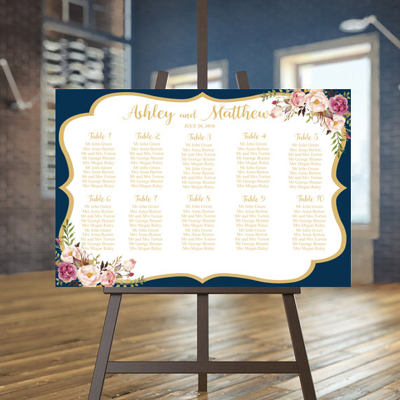 Wedding Seating Chart Printable Navy Guests List Gold Plan Floral Custom Sign