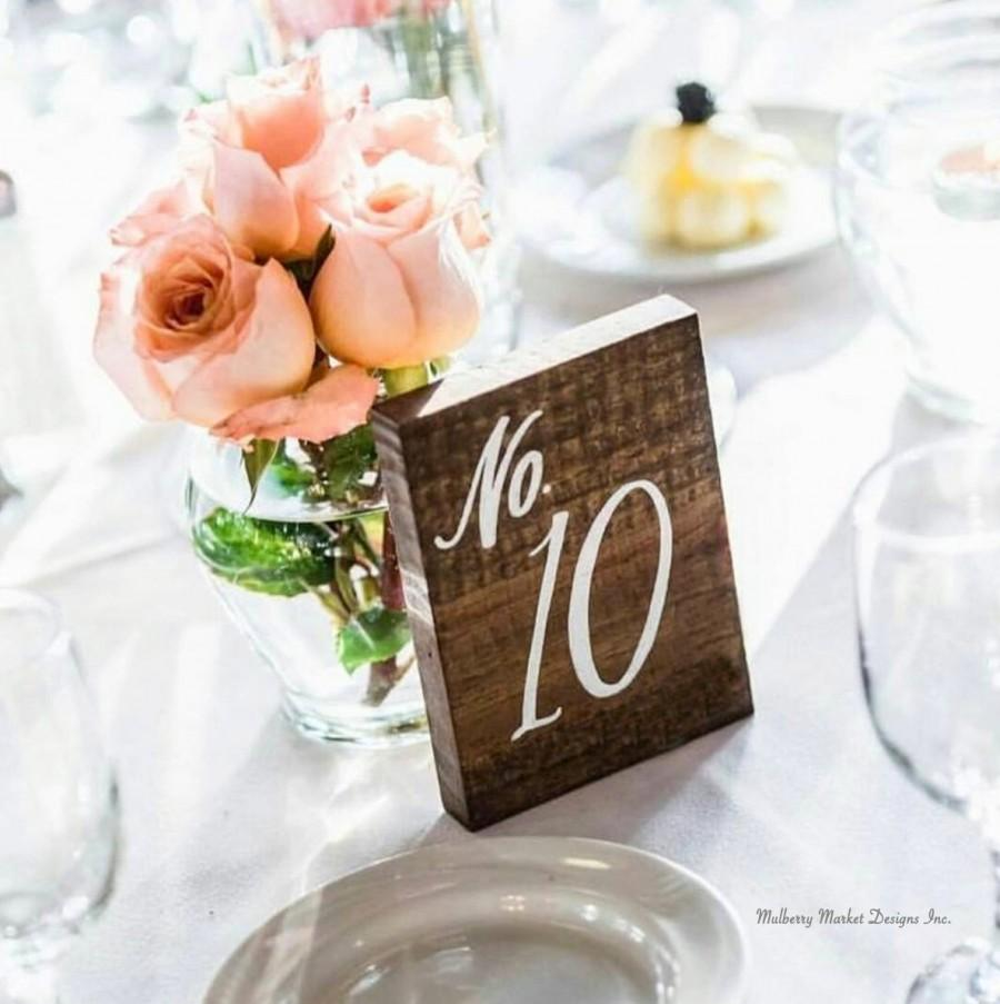 """Mariage - Wedding Table Numbers, Rustic Wooden Wedding Signs, """"No. Style"""", Rustic Wedding Decor"""
