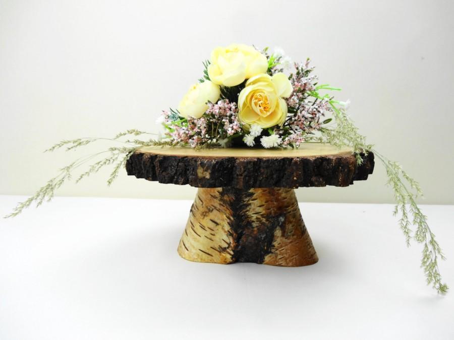 "Mariage - 7""-8"" Birch Stand, Wooden Stand, Pedestal, Cake Stand, Flower Stand, Centerpiece, Wedding Decor, Rustic Centerpiece, E29"