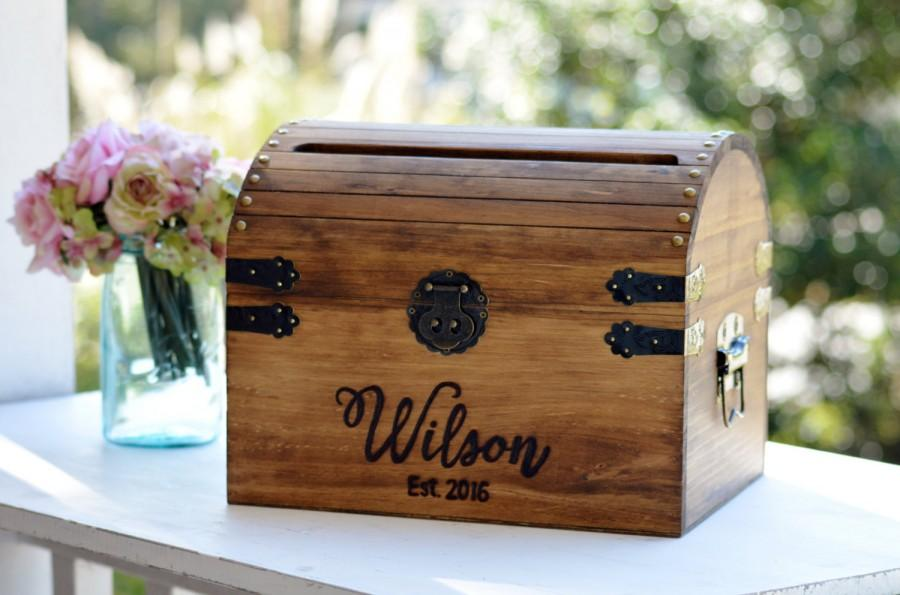 Personalized Wedding Card Box Wood With Slot 5th Anniversary Gift Memory Chest Custom Keepsake Trunk