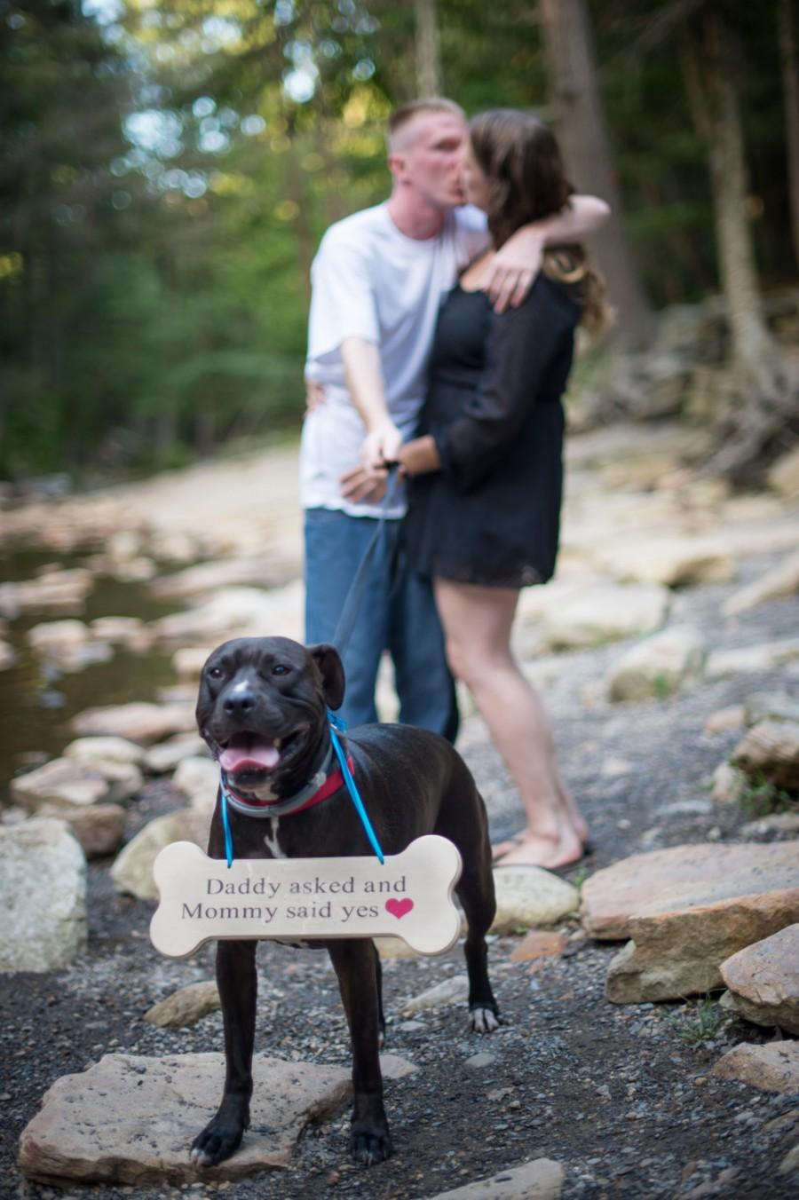 Mariage - Daddy Asked and Mommy Said Yes Engagement Photo Prop, Dog Photo Prop, Engagement Prop
