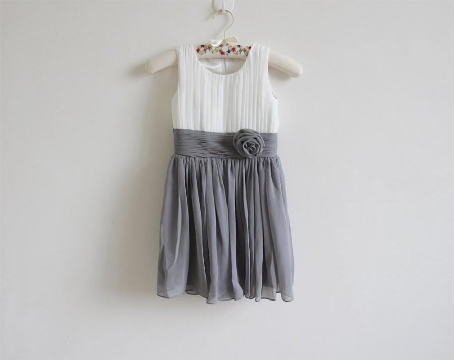 Hochzeit - Ivory Grey Flower Girl Dress Ivory Gray Knee-length Chiffon Baby Girl Dress With Flower