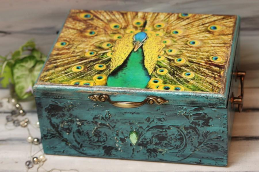 Свадьба - Peacock Box, Peacock Cards Box, Shabby Wedding Card Box, Wedding Box, Peacock Jewelry Box, Personalized  Wedding Box, Wedding Keepsake Box