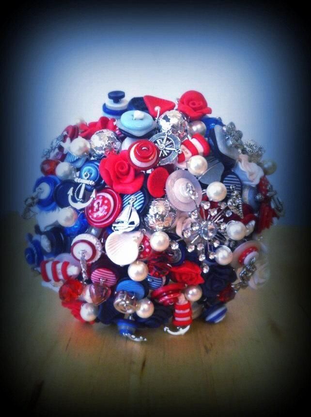 Wedding - Button Bouquet Deposit - Nautical/Rockabilly