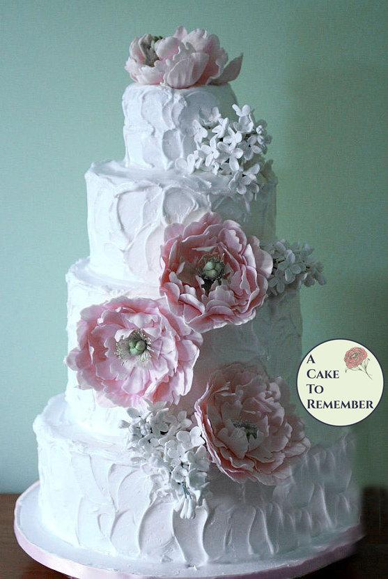 Hochzeit - Gumpaste peonies and lilacs for wedding cake, sugar flowers, edible flowers for romantic wedding cake toppers, DIY wedding cake decorations