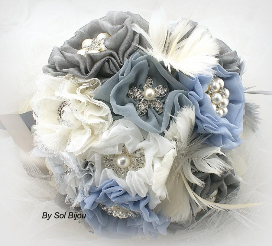 Свадьба - Brooch Bouquet, Ivory, Dusty Blue, Gray, Silver, Elegant Wedding, Bridal, Jeweled, Lace, Crystals, Feather Bouquet, Pearls, Vintage Style