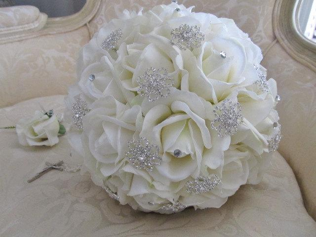Mariage - Ivory real touch rose and rhinestone brooch wedding bouquet.
