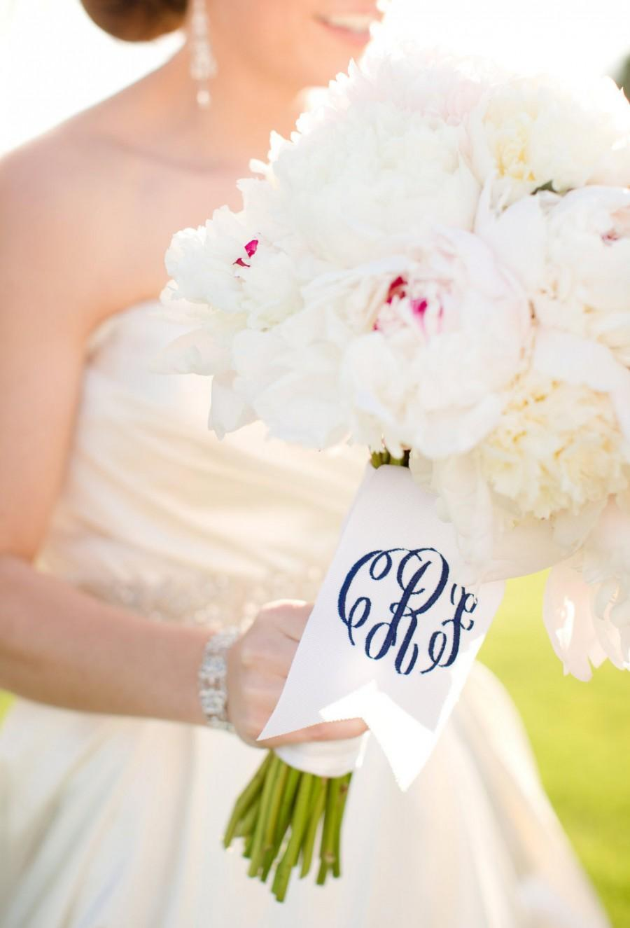 "Mariage - custom monogrammed bouquet ribbon (3"" wide grosgrain), bridal bouquet, bridesmaid bouquet"