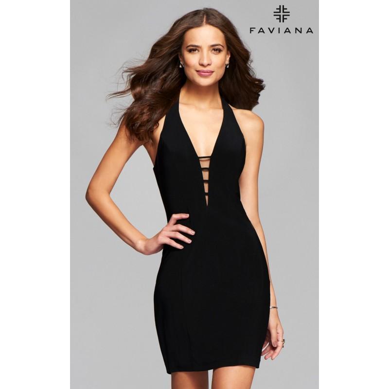Mariage - Black Faviana 7854 - Short Jersey Knit Simple Open Back Dress - Customize Your Prom Dress