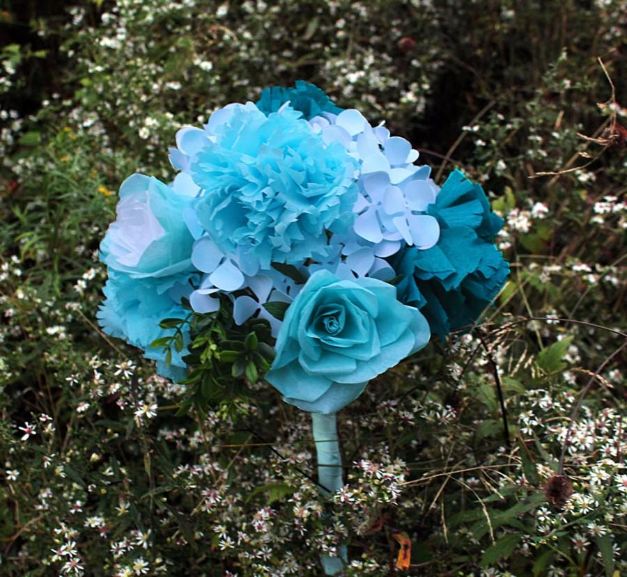 Mariage - Paper Flower Bouquet - Blue Flowers - Roses Hydrangeas and Carnations - Wedding Bouquet, Centerpiece, Handmade