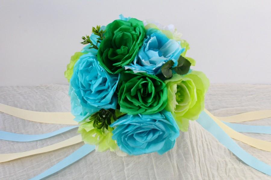 Mariage - Paper Flower Bouquet - Roses and Peonies Ribbon - Wedding Bouquet, Centerpiece, Handmade - Blue Green Aquamarine Teal