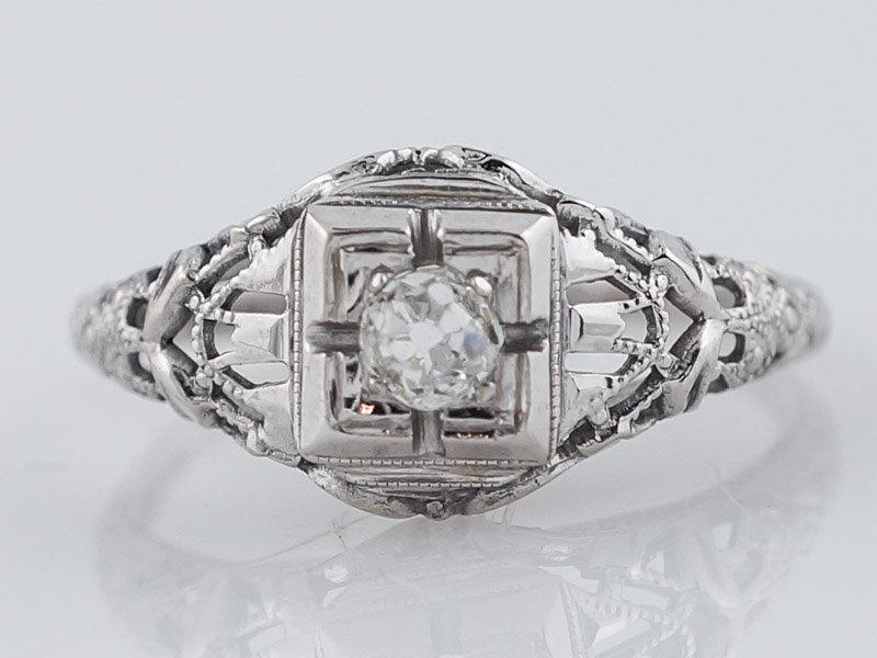 Mariage - Antique Engagement Ring Art Deco .18ct Old Mine Cut Diamond in Vintage 18k White Gold
