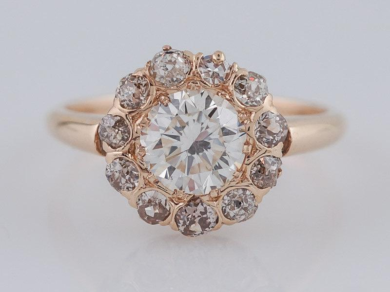 Mariage - Antique Engagement Ring Victorian .90 Round Brilliant Cut Diamond in 14k Yellow Gold