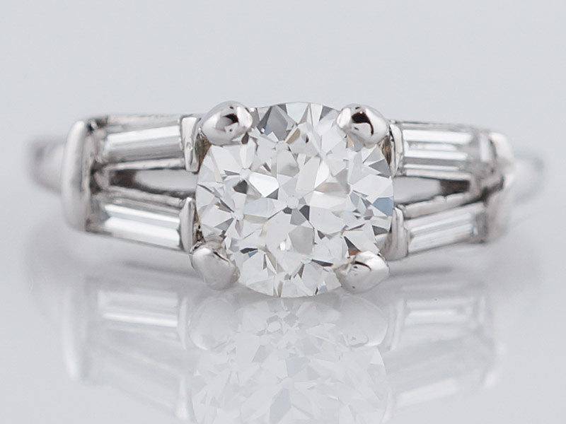 Mariage - 1920's Engagement Ring Art Deco .98ct Old European Cut Diamond in Vintage Platinum