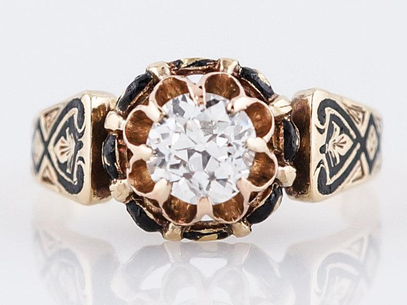 Mariage - Antique Engagement Ring Victorian .61 Old Mine Cut Diamond in 18k Yellow Gold