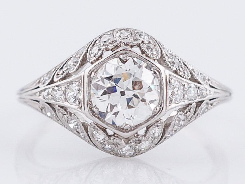 Mariage - Antique Engagement Ring Art Deco .75 Old European Cut Diamond in Platinum