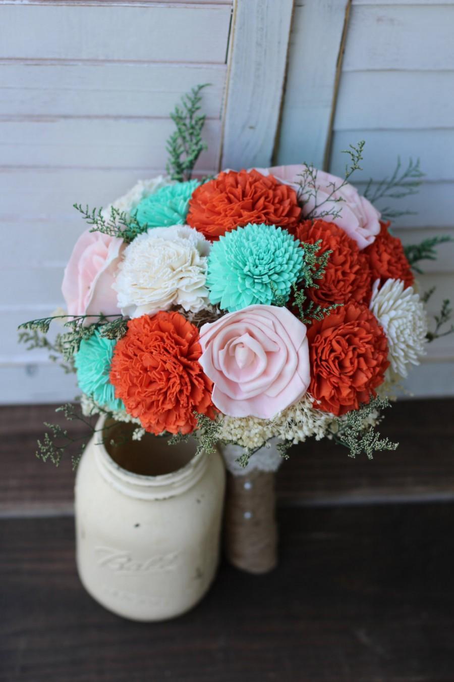 Свадьба - Orange Teal Bouquet, Sola Bouquet, Wedding Bouquet, Rustic Wedding, Bridal Bouquet, Bouquet, Country Wedding, wedding flowers