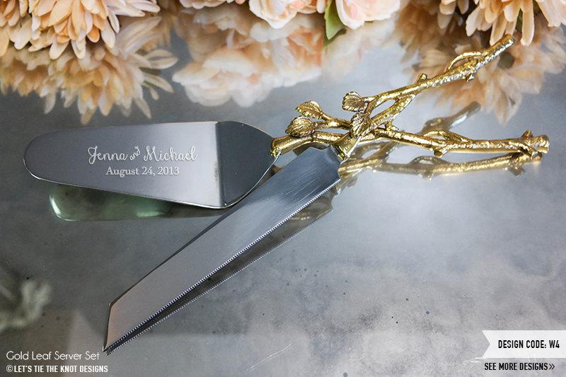 Свадьба - Personalized Wedding Gold Leaf Cake Knife and Server Set - (2pc) Custom Engraved Rustic Gold Cake Knife and Server Cake Cutter Wedding Gift