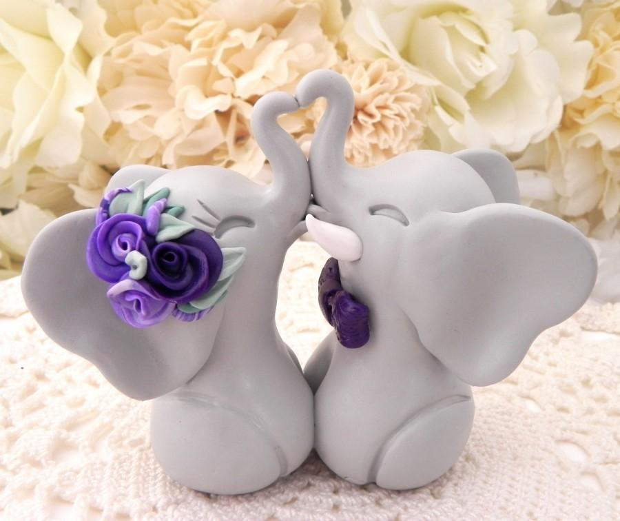 Свадьба - Wedding Cake Topper, Elephants in Love, Grey and Shades of Purple, Bride and Groom Keepsake