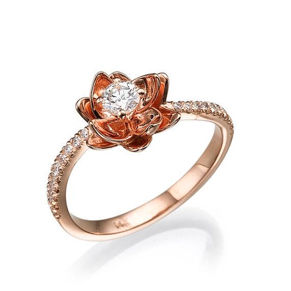 Mariage - Flower Engagement Ring, 14k Ring, Rose Gold Ring, Engagement Band, Flower Ring, Unique Engagement Ring, Promise Ring, Natural Diamond Ring