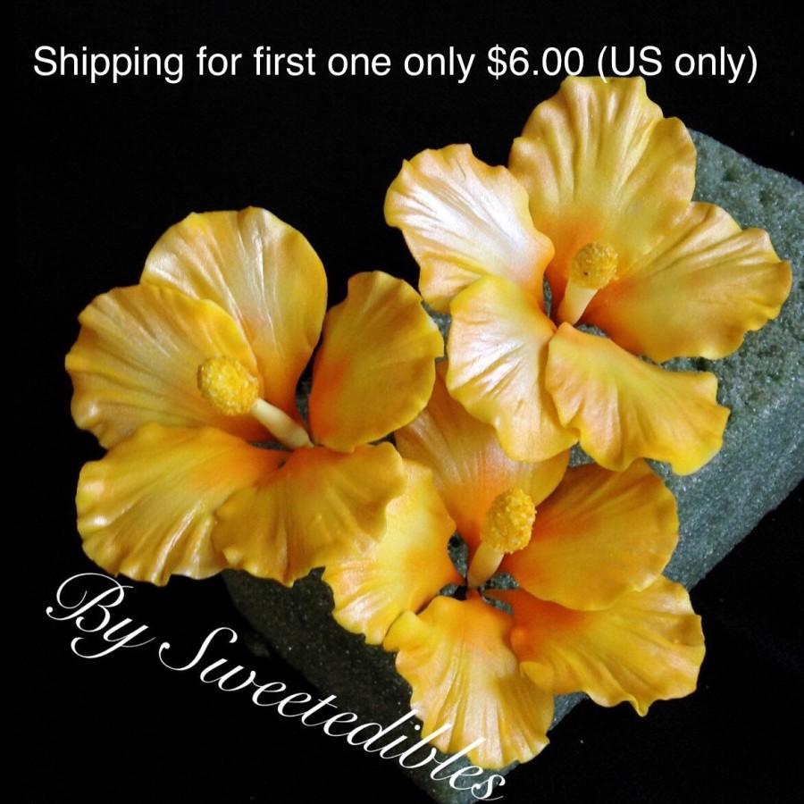 Свадьба - Gum Paste Hawaiian Hibiscus Cake Decorations Yellow Gumpaste