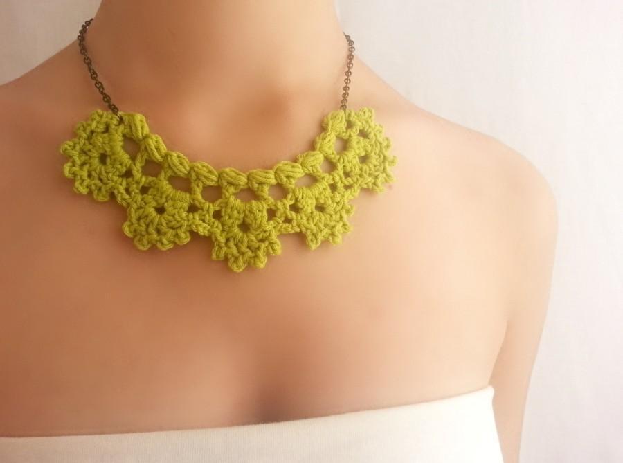 زفاف - Bridesmaid green necklace Party choker Cocktail jewelry Crochet necklace
