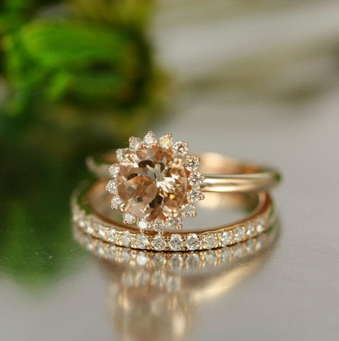 زفاف - For Love-7mm Round Morganite in 14K Rose Gold Morganite and Diamond Halo Engagement Ring and Diamond Eternity Wedding Band Bridal Set Rings