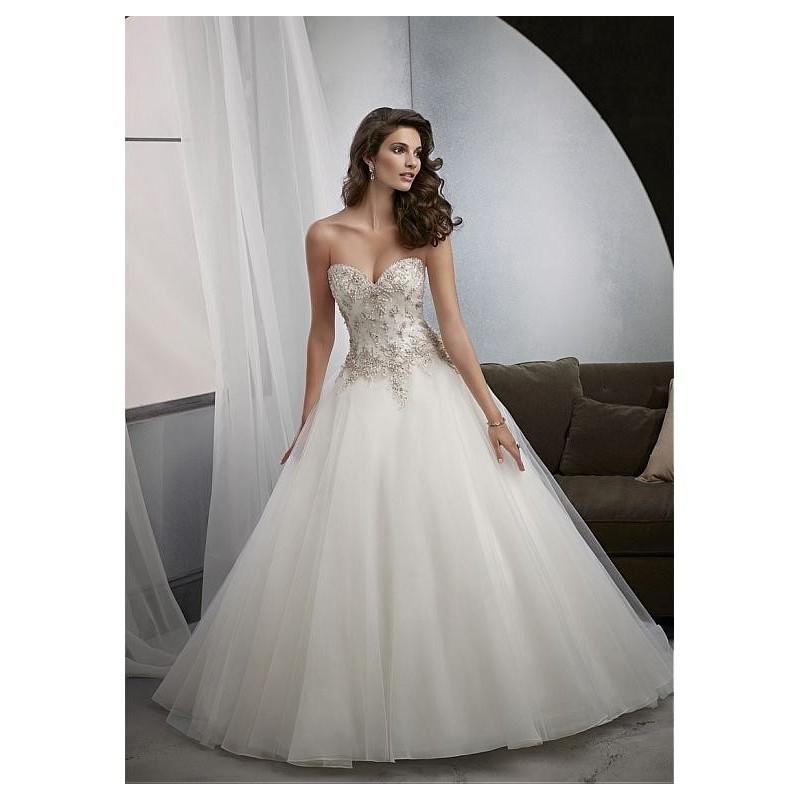Wedding - Elegant Tulle Sweetheart Neckline Natural Waistline Ball Gown Wedding Dress With Embroidery - overpinks.com