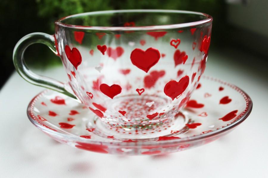 Unique Gift Cup Hand Painted Red Hearts Tea Set Glass Tea Cup Set For Her  Hearts Cup And Saucer St. Valentineu0027s Day TeaCup Set Tea Cups